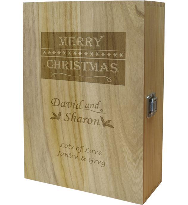 "Merry Christmas Double Wine Box - Holly & Snowflake Design 35cm (13.75"")"