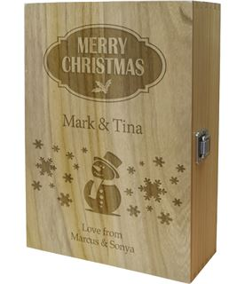 "Merry Christmas Double Wine Box - Snowman Design 35cm (13.75"")"