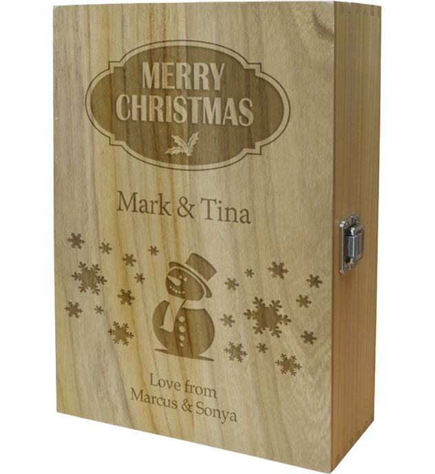 "Merry Christmas Double Wine Box - Snowman Design 35cm (13.75"")"
