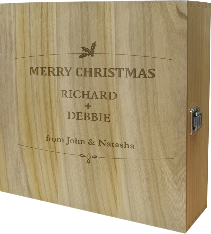 "Merry Christmas Triple Wine Box - Holly Design 35cm (13.75"")"