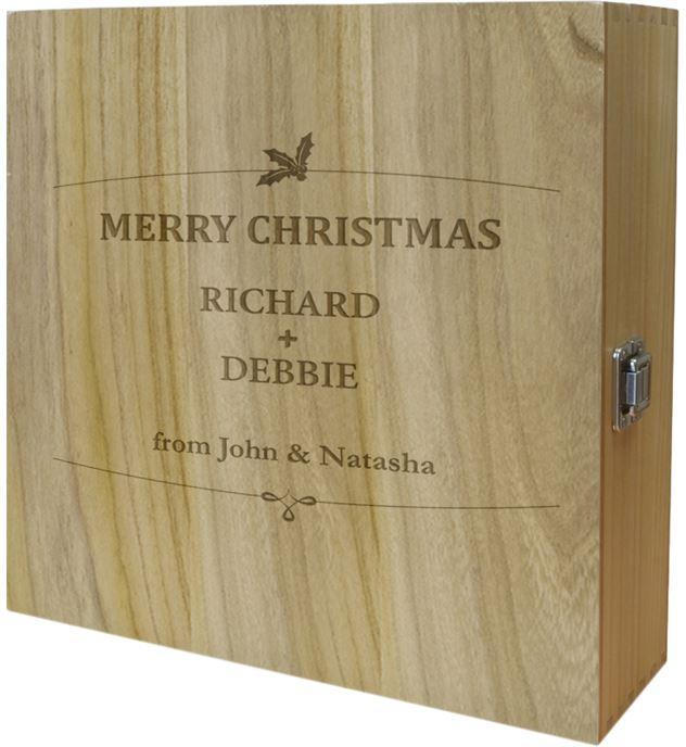 "Merry Christmas Triple Wine Box - Holly Design 35cm (13.75"")"