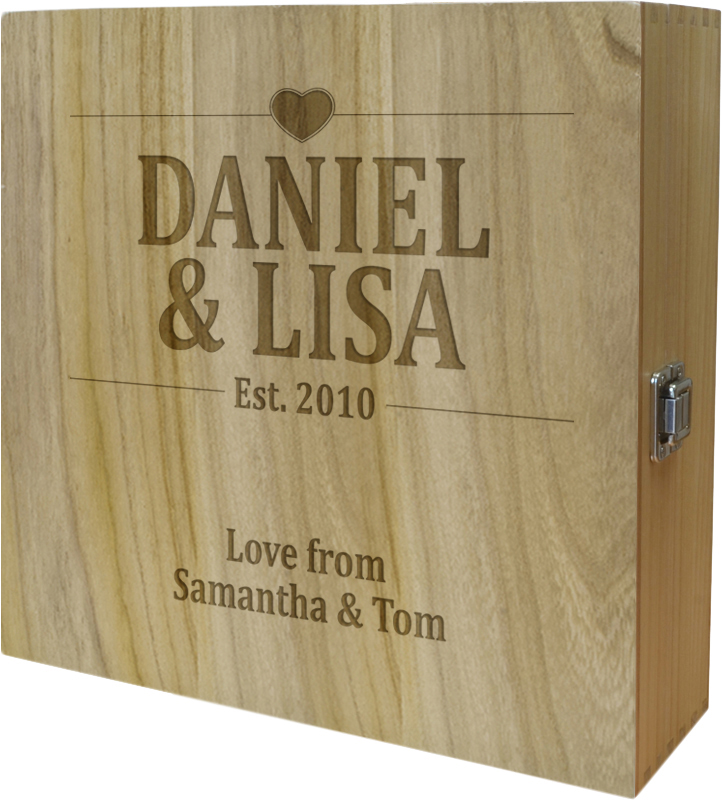 "Wedding/Anniversary Triple Wine Box - Heart Design 35cm (13.75"")"