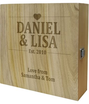 "Wedding/Anniversary Triple Wine Box - Heart Design 35cm (13.75"")"