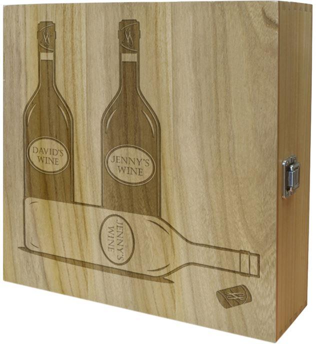 "His & Hers Triple Wine Box - Bottle Design 35cm (13.75"")"