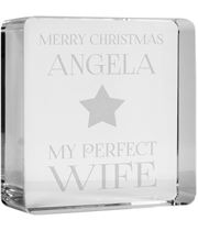 """Optical Crystal Token Merry Christmas Perfect Star Wife Paperweight 6cm (2.25"""")"""