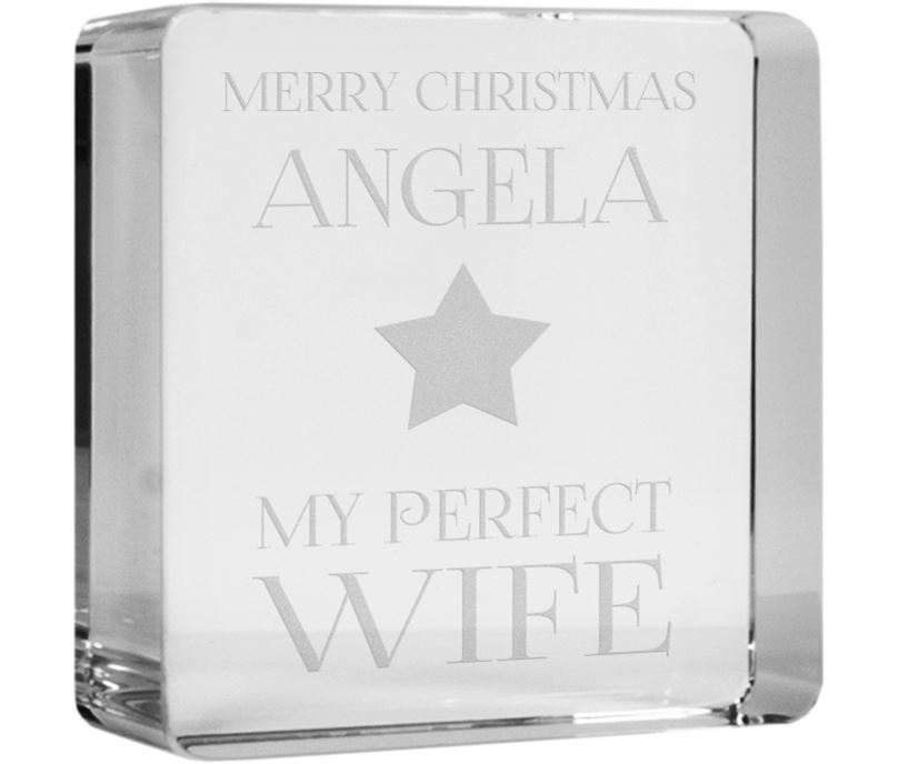 "Optical Crystal Token Merry Christmas Perfect Star Wife Paperweight 6cm (2.25"")"