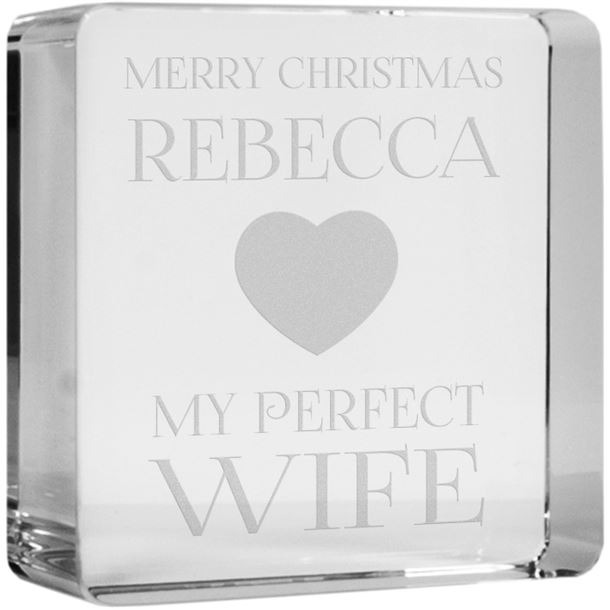"""Merry Christmas Perfect Wife Optical Crystal Token Paperweight 6cm (2.25"""")"""