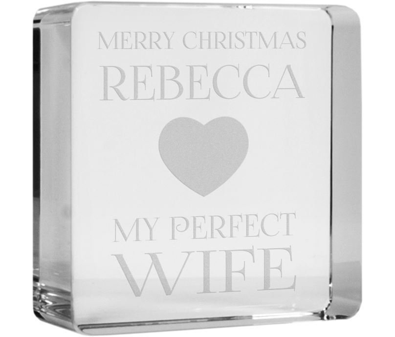 "Merry Christmas Perfect Wife Optical Crystal Token Paperweight 6cm (2.25"")"