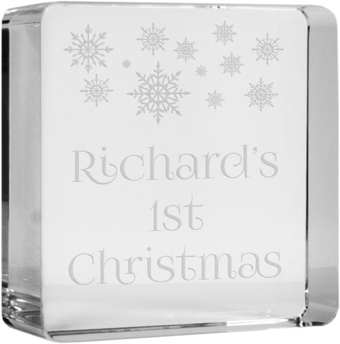 """Babies First Christmas Glass Token Paperweight 6cm (2.25"""")"""