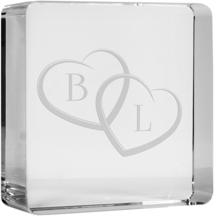 "Initials Glass Token Paperweight 6cm (2.25"")"