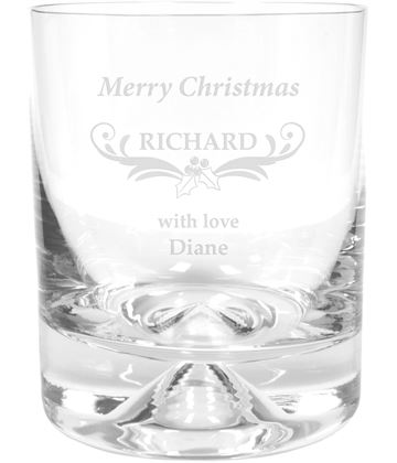 "Merry Christmas Ornate Design Dimple Base Whisky Tumbler 9.5cm (3.75"")"
