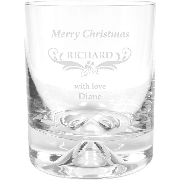"Merry Christmas Ornate Design Dimple Base Whisky Tumbler 9.5cm (3.75"")"