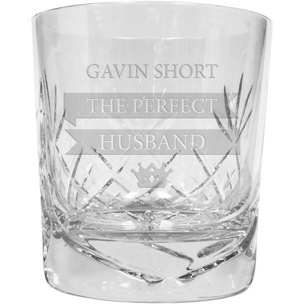 """The Perfect Husband Personalised Cut Glass Whisky Tumbler 9.5cm (3.5"""")"""