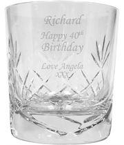 "Happy Birthday Personalised Crystal Whisky Tumbler 9.5cm (3.5"")"