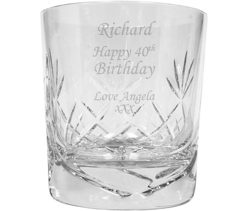 "Happy Birthday Personalised Crystal Whisky Tumbler 9.5cm (3.5"")"
