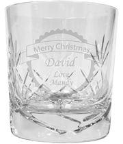 "Merry Christmas Banner Design Crystal Whisky Tumbler 9.5cm (3.5"")"