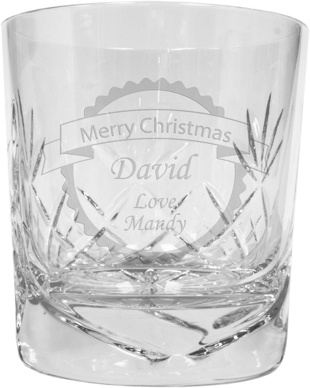 "Merry Christmas Banner Design Crystal Whisky Tumbler 9.5cm (3.5"")"