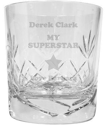 "My Superstar Personalised Crystal Whisky Tumbler 9.5cm (3.5"")"