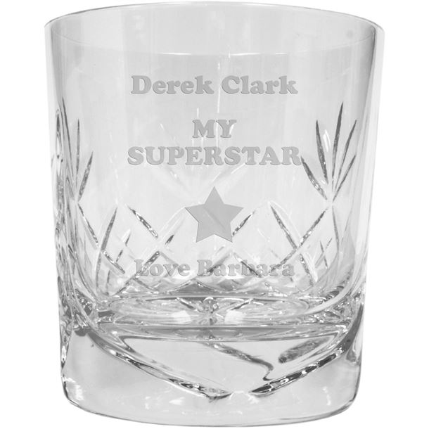 """My Superstar Personalised Cut Glass Whisky Tumbler 9.5cm (3.5"""")"""