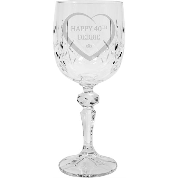 "Happy Birthday Personalised Crystal Wine Glass 18cm (7"")"