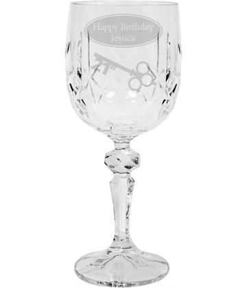 "Happy 21st Birthday Personalised Crystal Wine Glass 18cm (7"")"