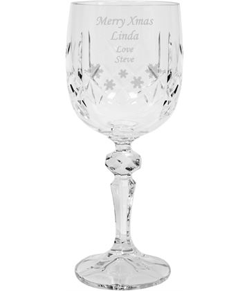 "Merry Xmas Crystal Wine Glass - Snowflake Design 18cm (7"")"