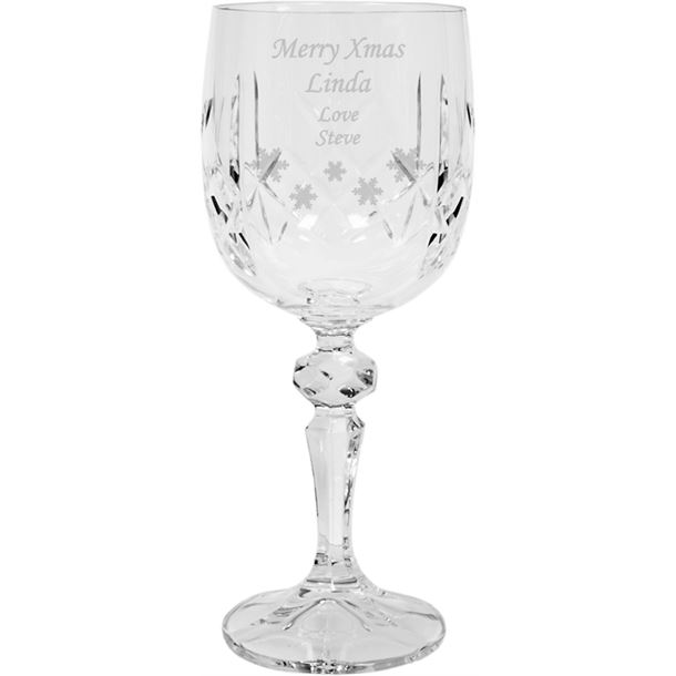 "Merry Xmas Crystal Wine Glass - Snowflake Design 18cm (7"")"