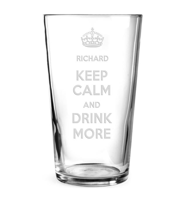 """Keep Calm & Drink More Personalised Pint Glass 15cm (6"""")"""