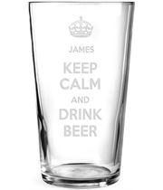 """Keep Calm & Drink Beer Personalised Pint Glass 15cm (6"""")"""