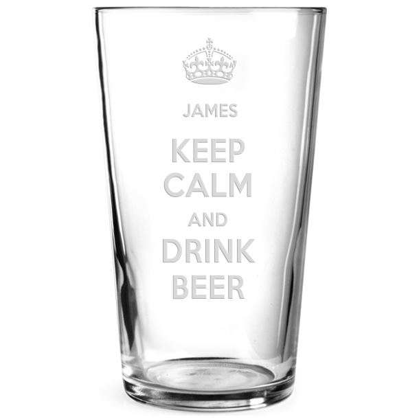 "Keep Calm & Drink Beer Personalised Pint Glass 15cm (6"")"