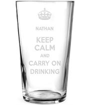 """Keep Calm & Carry on Drinking Personalised Pint Glass 15cm (6"""")"""