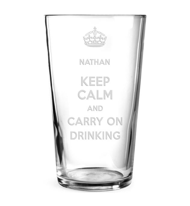 "Keep Calm & Carry on Drinking Personalised Pint Glass 15cm (6"")"