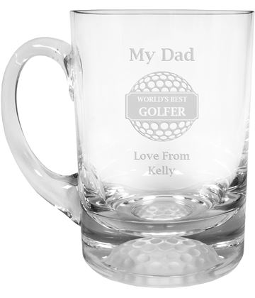 "Dad World's Best Golfer Golf Ball Base Glass Tankard 1pt 13.5cm (5.25"")"