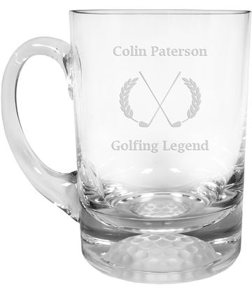 "Golfing Legend Golf Ball Base Glass Tankard 1pt 13.5cm (5.25"")"