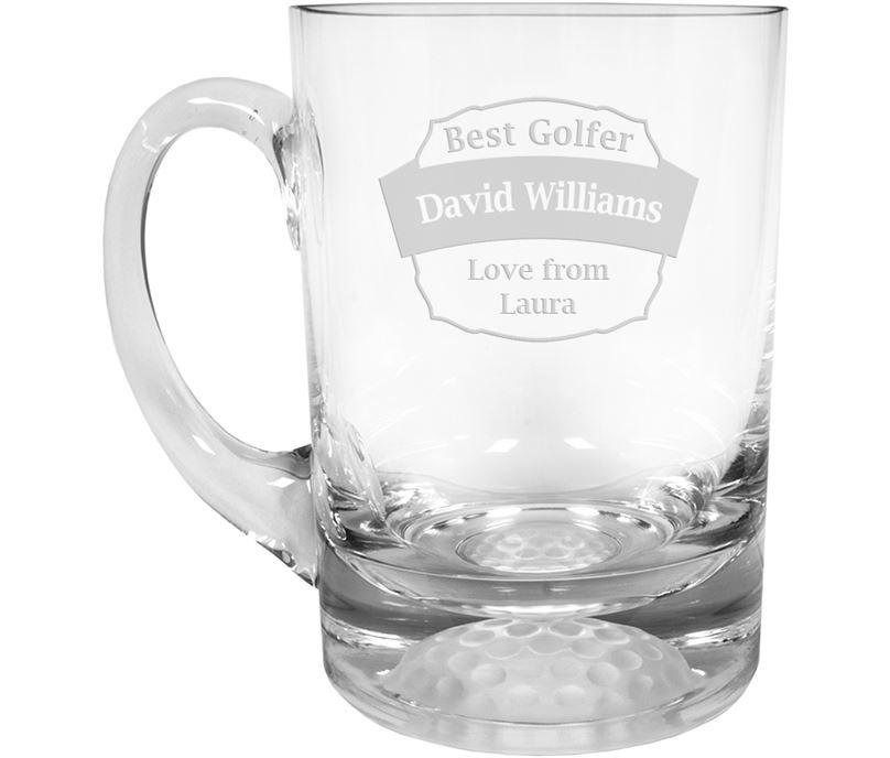 """Best Golfer Golf Ball Base Glass Tankard 1pt 13.5cm (5.25"""")"""