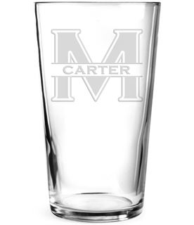 """Large Initial & Surname Personalised Pint Glass 15cm (6"""")"""