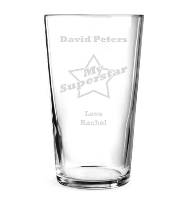 """My Superstar Personalised Pint Glass 15cm (6"""")"""