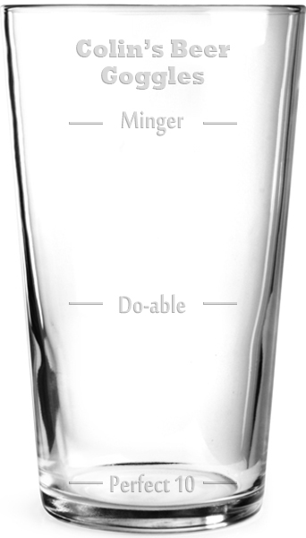 "Beer Goggles Perfect 10 Personalised Pint Glass 15cm (6"")"