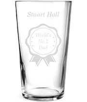"""World's No.1 Dad Personalised Pint Glass Rosette Design 15cm (6"""")"""