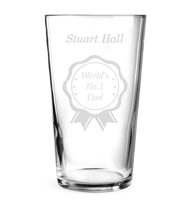 "World's No.1 Dad Personalised Pint Glass Rosette Design 15cm (6"")"