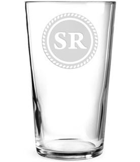 "Initials Personalised Pint Glass Rosette Design 15cm (6"")"