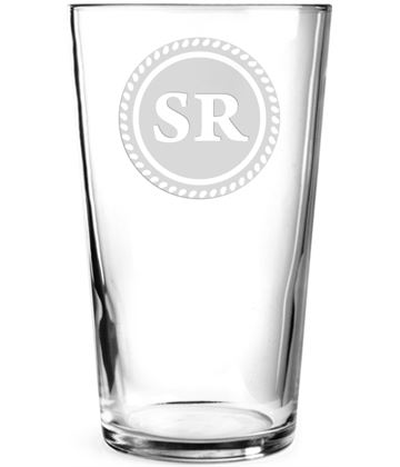 "Initials Personalised Pint Glass Rosette Design 15cm (6"")"