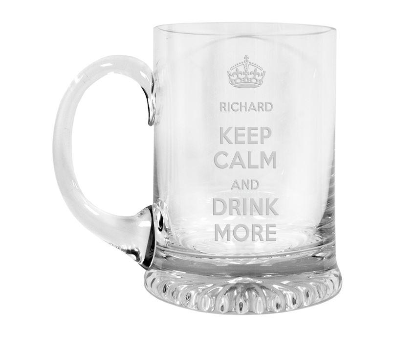 "Keep Calm Drink More Crystal Star Base Tankard 3/4pt 13cm (5.25"")"