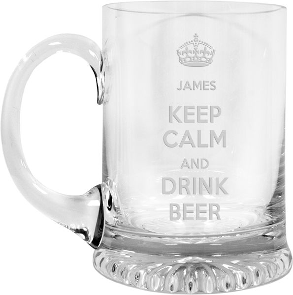 "Keep Calm Drink Beer Crystal Star Base Tankard 3/4pt 13cm (5.25"")"