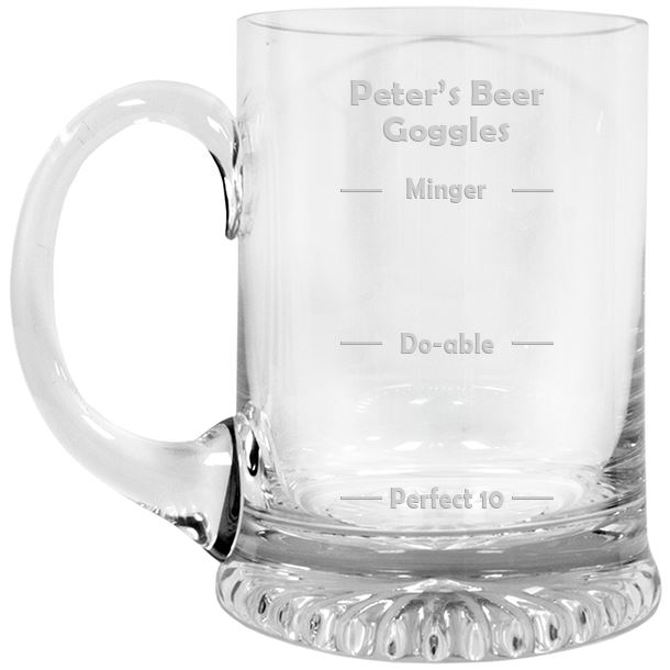 "Beer Goggles Crystal Star Base Tankard 3/4pt 13cm (5.25"")"