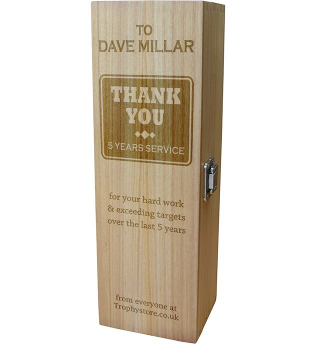 "Thank You Personalised Wine Box - Chunky Design 35cm (13.75"")"