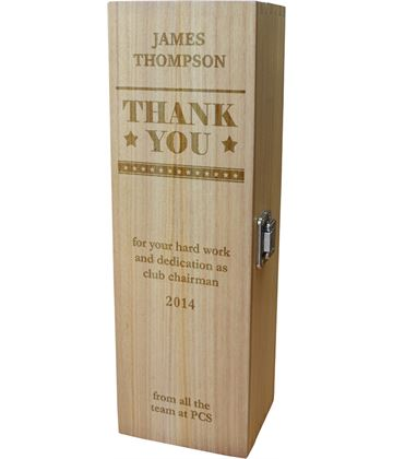 "Thank You Personalised Wine Box - Star Design 35cm (13.75"")"