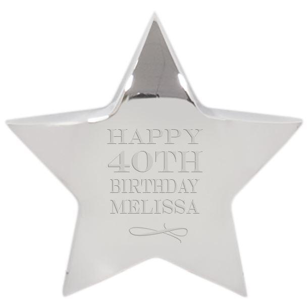 "Happy Birthday Silver Star Paperweight 9.5cm (3.75"")"
