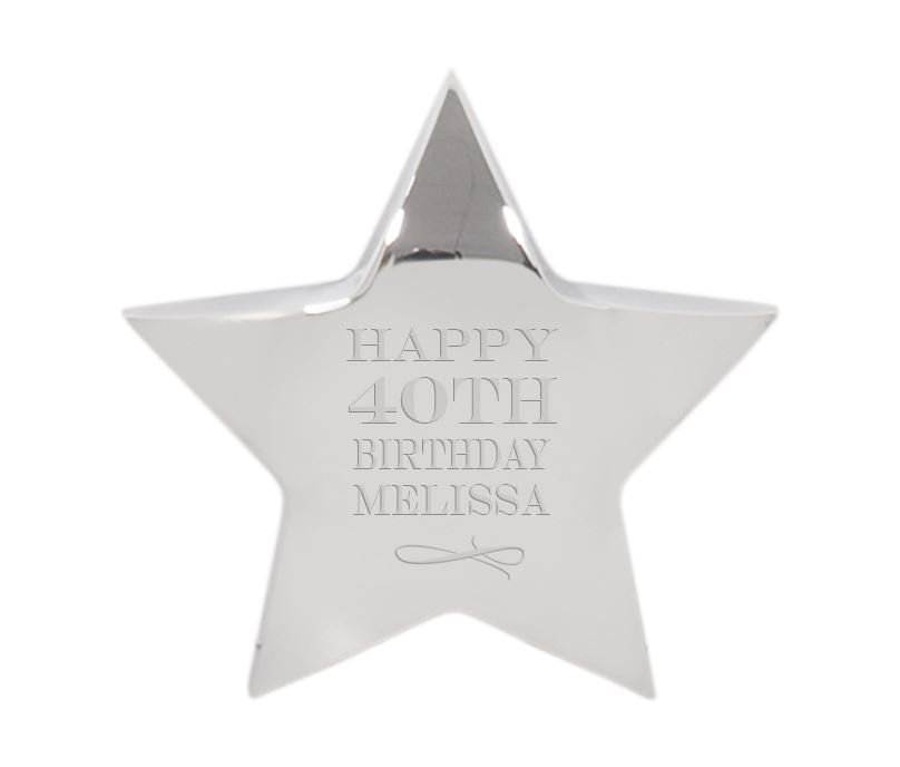 "Happy Birthday Silver Star Paperweight 9.5cm (3.75"")"