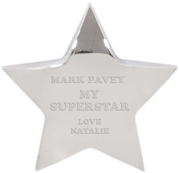 "My Superstar Silver Star Paperweight 10cm (4"")"